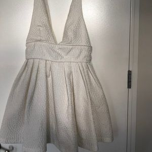 White Sabo Skirt Plunge Dress